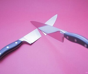 pink, knife, and grunge image