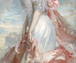 art, pink, and dress image