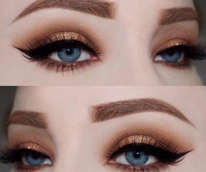 makeup, blue eyes, and eyebrows image