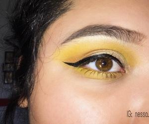 brown eyes, eyeshadow, and yellow image