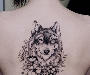 flower, tattoo, and wolf image