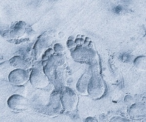beach, blue, and footprints image