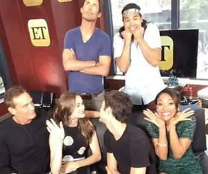 danielle panabaker, tom cavanagh, and grant gustin image