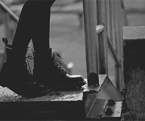 boots, gif, and black and white image
