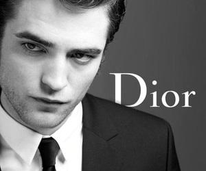 dior, robert pattinson, and black and white image