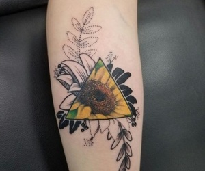 tattoo, yellow, and flowers image