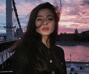 girl, beauty, and sunset image