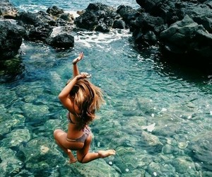 girl, jump, and sea image