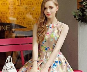modest, blonde, and floral dress image