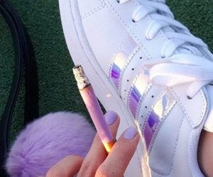 adidas, holographic, and cigarette image