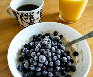 blueberries, breakfast, and coffee image