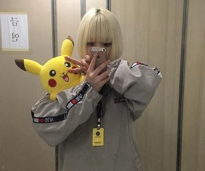 asian girl, hair, and pikachu image