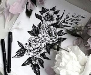 art, girl, and tattooart image