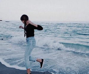 girl, happy, and sea image