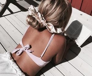 beach, bikini, and book image