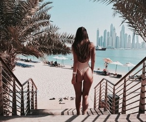 beach, girl, and palm trees image