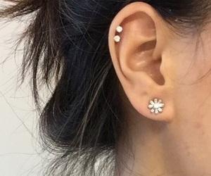 piercing, diamond, and ear image