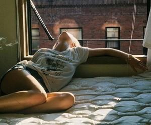 girl, bed, and window image