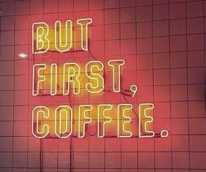 light, neon, and coffee image