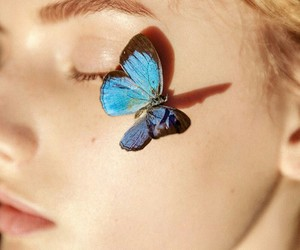 blonde, blue, and butterfly image