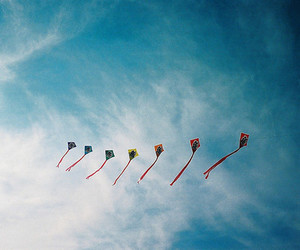 sky, kite, and vintage image