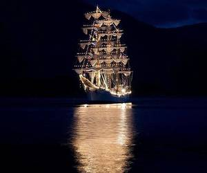 ship, light, and night image