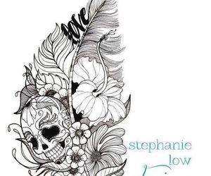 tattoo, feather, and skull image