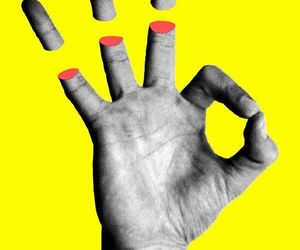 Collage, yellow, and hand image