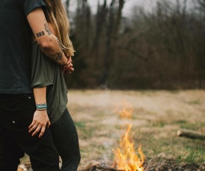 couple, fire, and love image