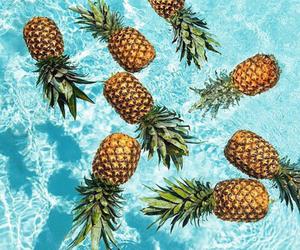 beach, sea, and pineapple image