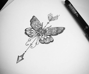 butterfly, art, and drawing image