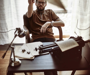 brown, glasses, and writer image