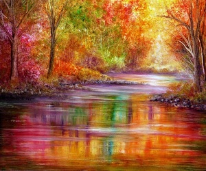 art, colors, and scenery image