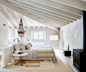 home decor, loft bedroom, and attic+bedroom image