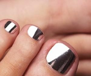 nails, silver, and nail polish image