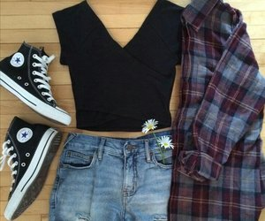 denim shorts, converse sneakers, and crop top image