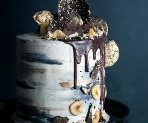 chocolate cake, bananas, and chocolate image