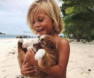 dog, boy, and beach image