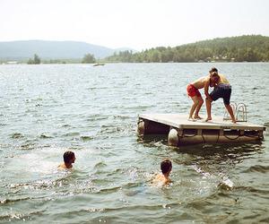 friends, boy, and lake image