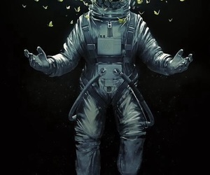 astronaut, butterfly, and space image
