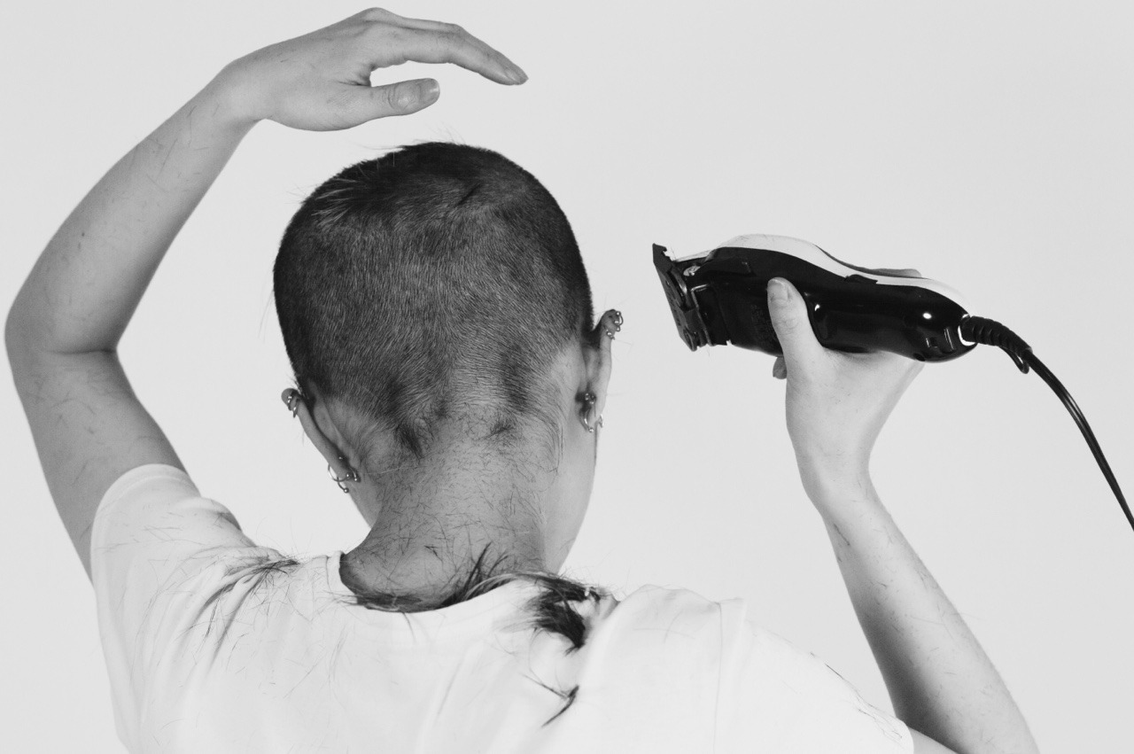 photography, punk, and shaved head image