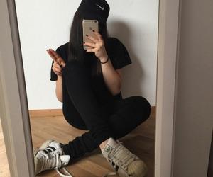 tumblr, girl, and black image
