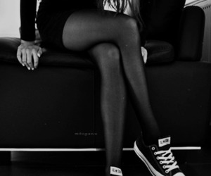 girl, converse, and black image