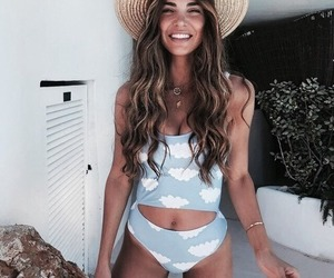 bikini, blue, and girl image