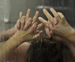 boy, girl, and shower image