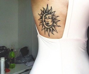 girl, tattoo, and moon image