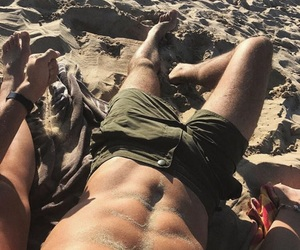 abs, guy, and sand image