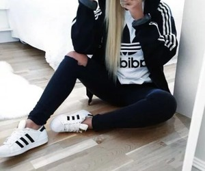 adidas, outfit, and blonde girl image