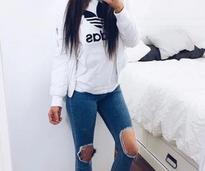 adidas, brunette, and style image