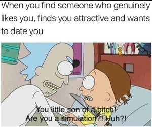 funny, dating, and rick image
